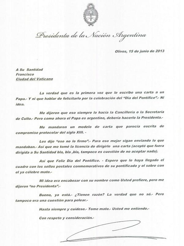 Carta de CFK al Papa